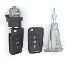 VW MQB BA New Type 2x Flip Remote Key 3 Buttons 433MHz With Lock Set