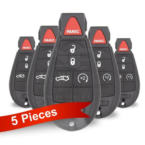 5 Pieces Of Jeep Dodge Chrysler Fobik Remote Key 4+1 Button Sedan Trunk and Start Button Type 433MHz PCF7941 Transponder FCC ID IYZ-C01C